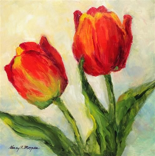 "Daily Paintworks - ""Tulip Twosome"" - Original Fine Art for Sale - © Nancy F. Morgan"