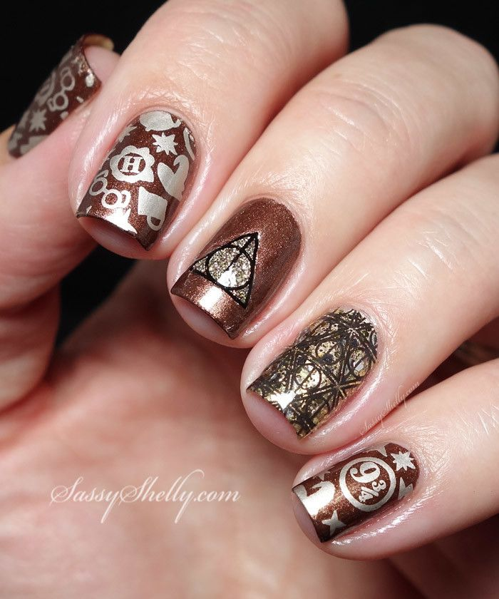 Harry Potter Fandom manicure - stamping nail art  |  Sassy Shelly
