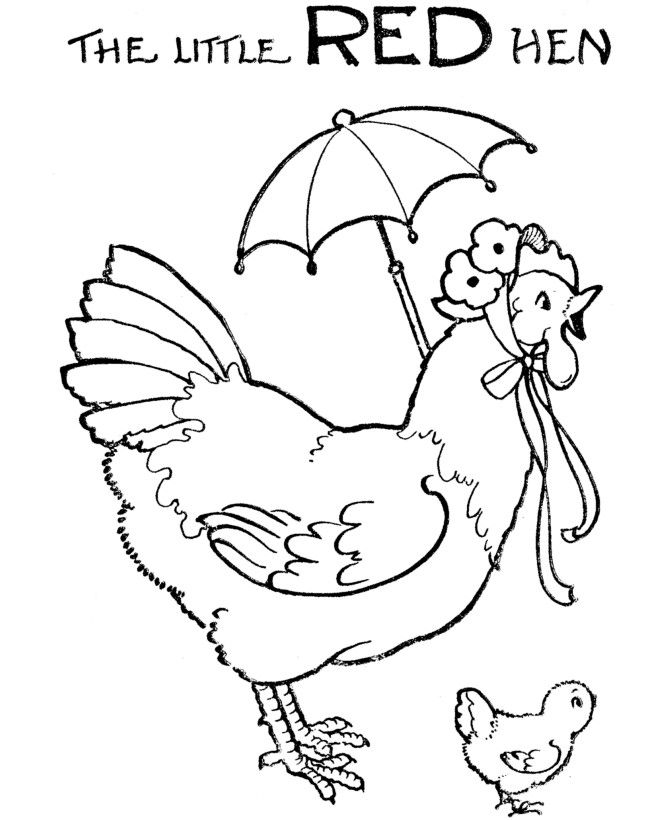 Little Red Hen Colouring Pages Free 1920s | The Little Red ...