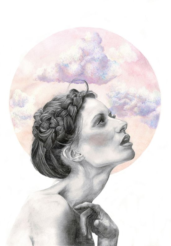 Head in the clouds Art Print | Pencil portrait, watercolour, gouache & acrylic sky