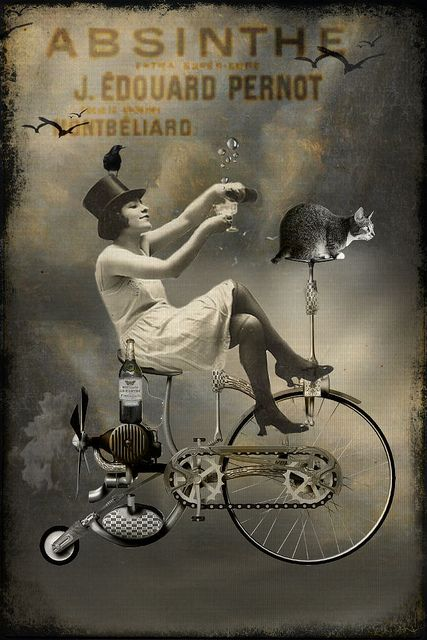 -whenever she needed to get away, she and the kitty grabbed the bubbly and fled to the open sky...Absinthe by room17, via Flickr
