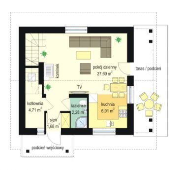 Projekt domu Milutki - rzut parteru