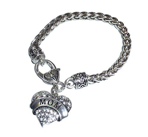 Mom Charm Bracelet BA Clear Crystal Heart Recyclebabe Bra... www.amazon.com/...