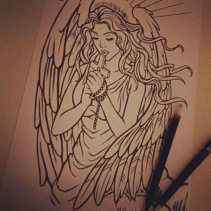 #Custom #Angel #Tattoo design. Currently half way through #tattooing it. #girl #art #drawing #religious #artwork #character #sleeve #cross #praying #illustration #ink