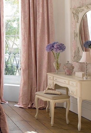 Beautiful feminine bedroom with lovely vanity. Dusty pink rose.  hardwood wide plank floors