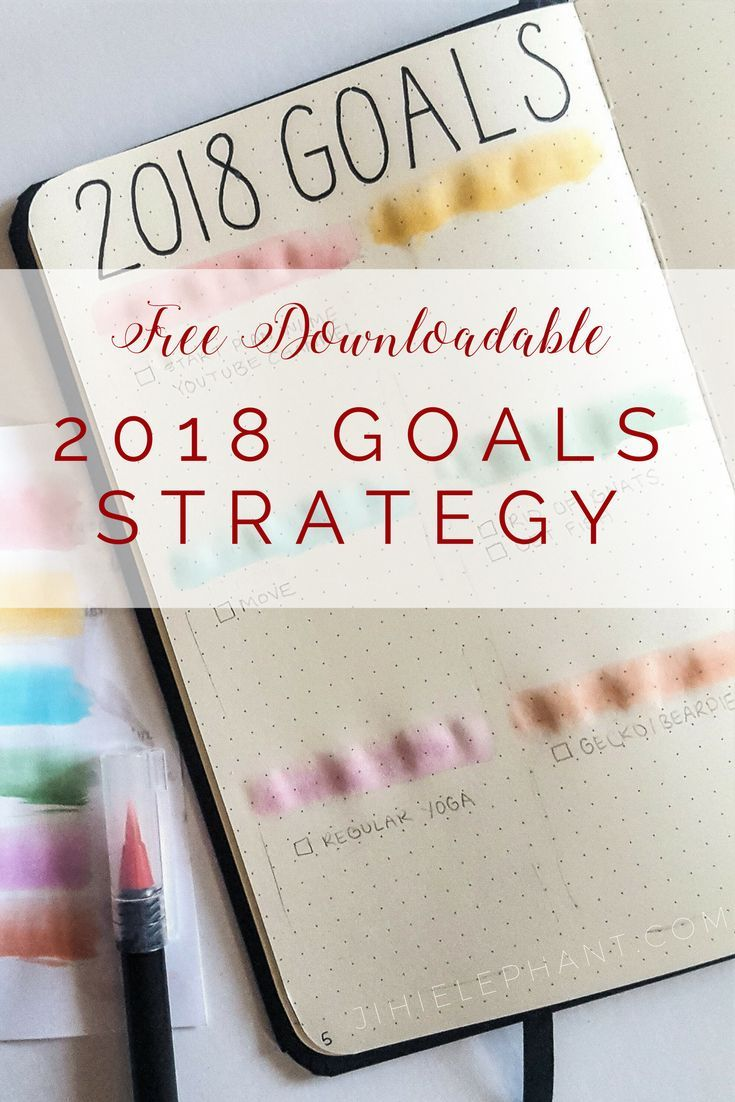 Get a goal strategy made for bullet journaling. This post has some easy goal templates to incorporate into your 2018 bullet journal.