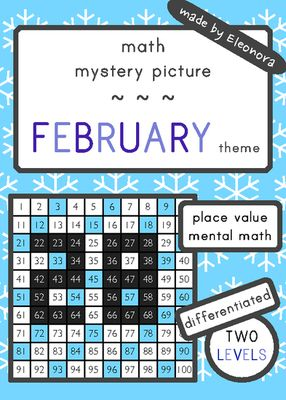 Place Value and mental math mystery picture - FEBRUARY theme - differentiated from Eleonora on TeachersNotebook.com (7 pages)