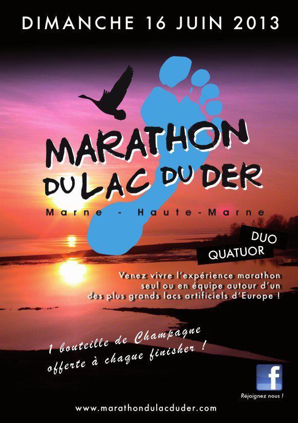 1ère édition du Marathon du Lac du Der. Le dimanche 16 juin 2013 à Montier en Der (52).
