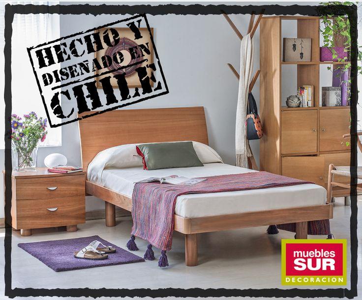 """La noble madera de nuestros bosques te acompaña en tus sueños.  Dale un toque natural a tu habitación con nuestra línea de muebles """"Hecho en Chile"""". Calidad #MueblesSur http://www.mueblessur.cl/"""