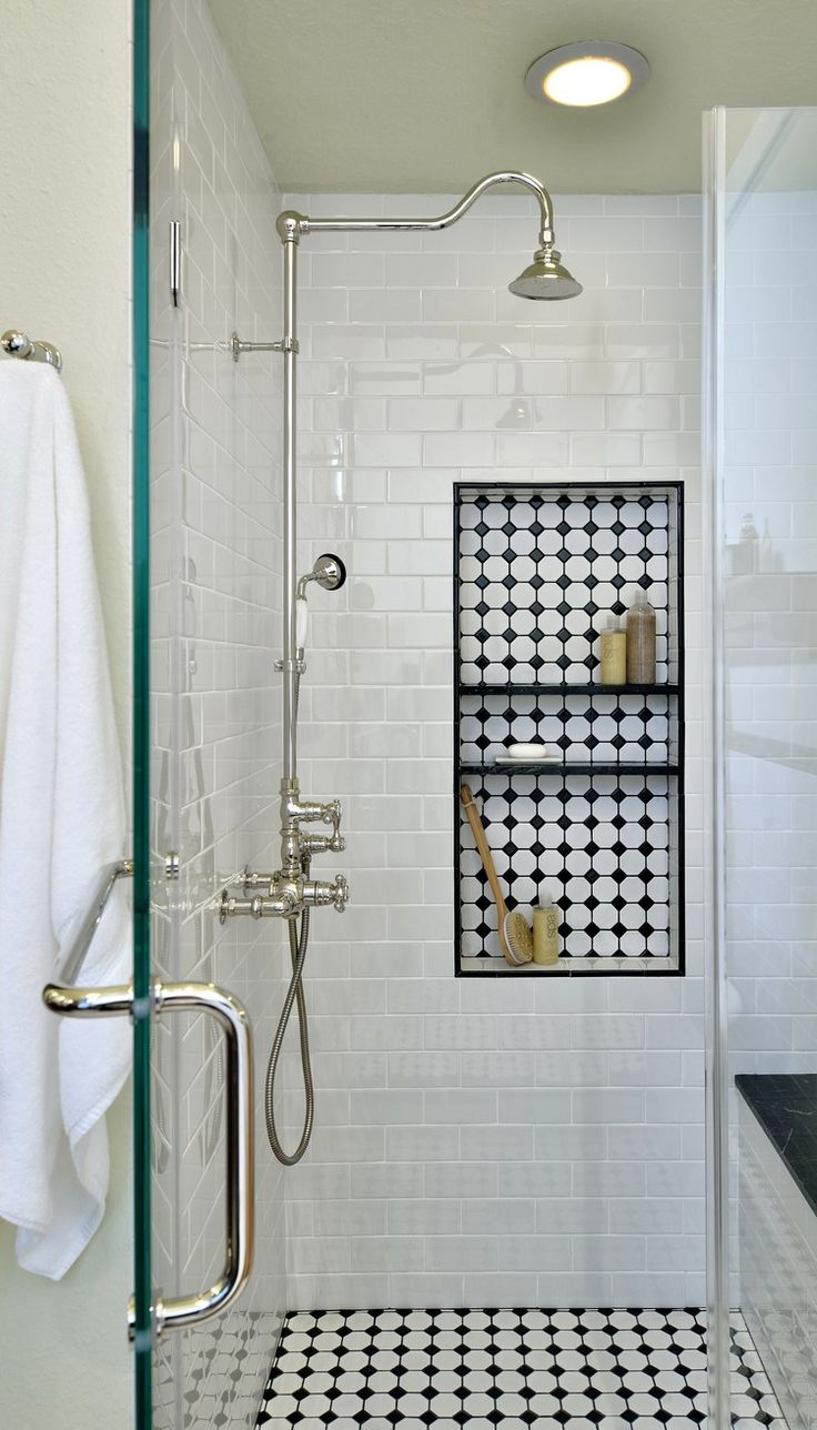 traditional classic white bathroom tile shower with recessed built in shower shelves