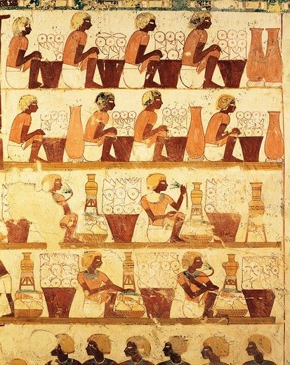Egyptian civilization, tomb of royal scribe Userhat, mural painting, from Sheikh 'Abd al-Qurna Necropolis Luxor, Egypt, 1450-1425 B.C.