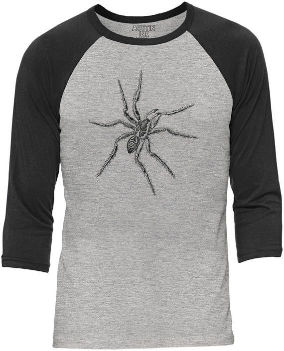 Austin Ink Apparel Crawling Tarantula Heather Grey Body Unisex 3/4 Contrast Sleeve Baseball Tee