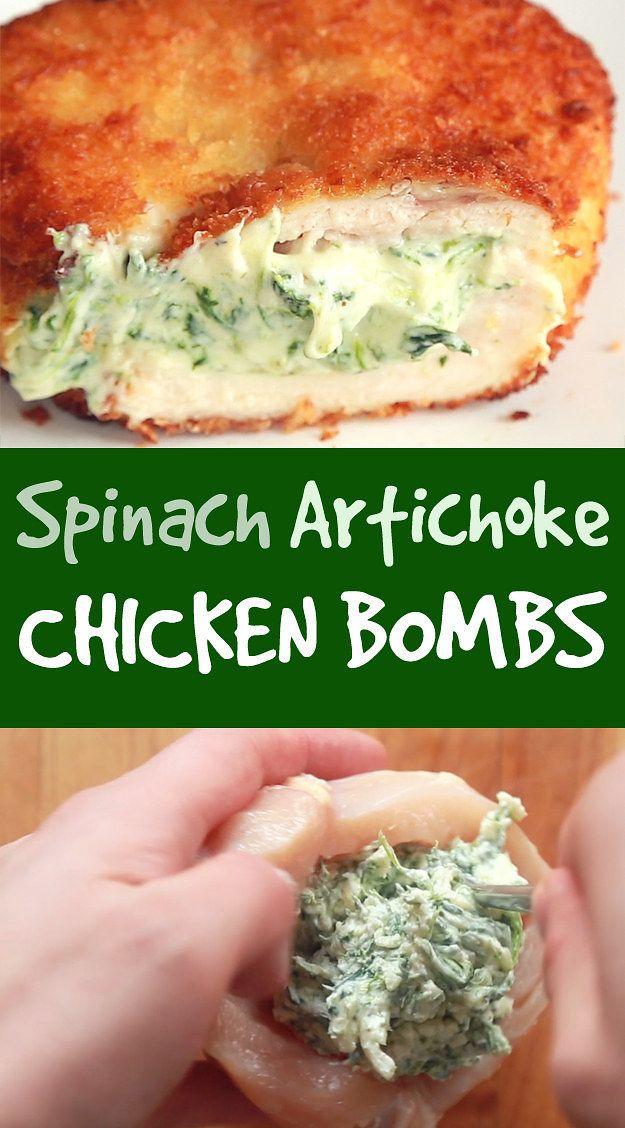 Bombas de pollo y espinacas