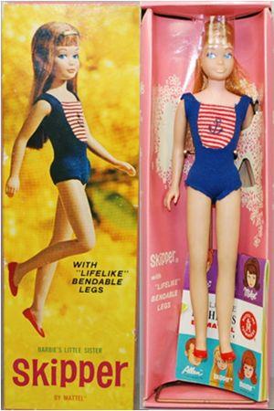 Skipper #1030 de 1964 avec jambes articulées : existe en Blonde, Brunette et Rousse