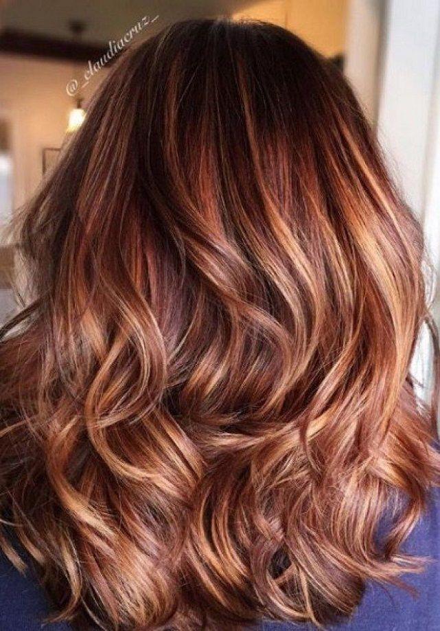 Auburn Hair Color Ideas - auburn hair with highlights,auburn hair color ideas #auburnhaircolor #naturalauburnhair, Fall hair color, auburn hair with caramel highlights