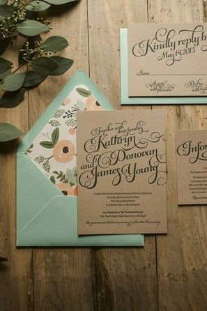 mint and peach lined envlopes with Kraft paper wedding invitation @myweddingdotcom