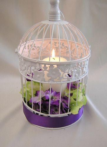 Purple Green Wedding Birdcage Card Holder Bird Cage Centerpieces Your Colors | eBay