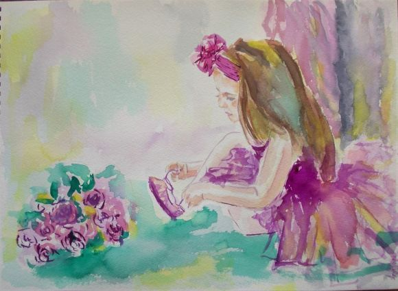 Little Ballerina 1-Original watercolor painting