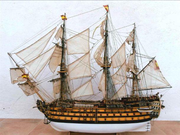 Maqueta acabada del navío Santa Ana, por Valentín Martínez Orolen // Finished Santa Ana Model, by Valentín Martínez Orolen