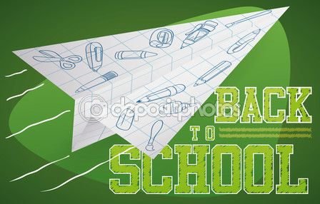 Paper Plane Flying with Doodles for Back to School