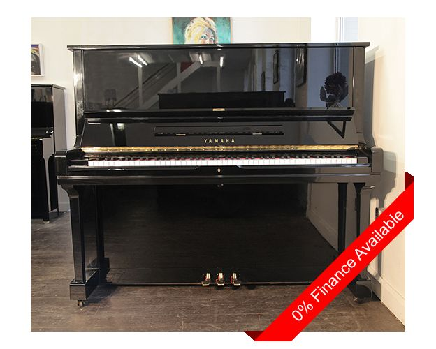 A 1974, Yamaha U3 upright piano with a black case and polyester finish. Piano has three pedals and an eighty-eight note keyboard. £3950 at Besbrode Pianos