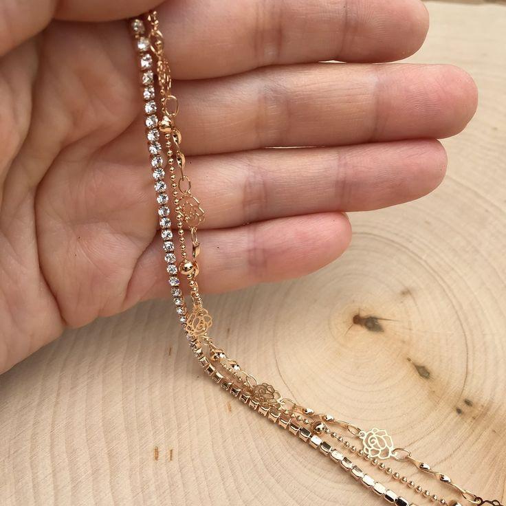 Camellia + Rhinestone Layered Bracelet