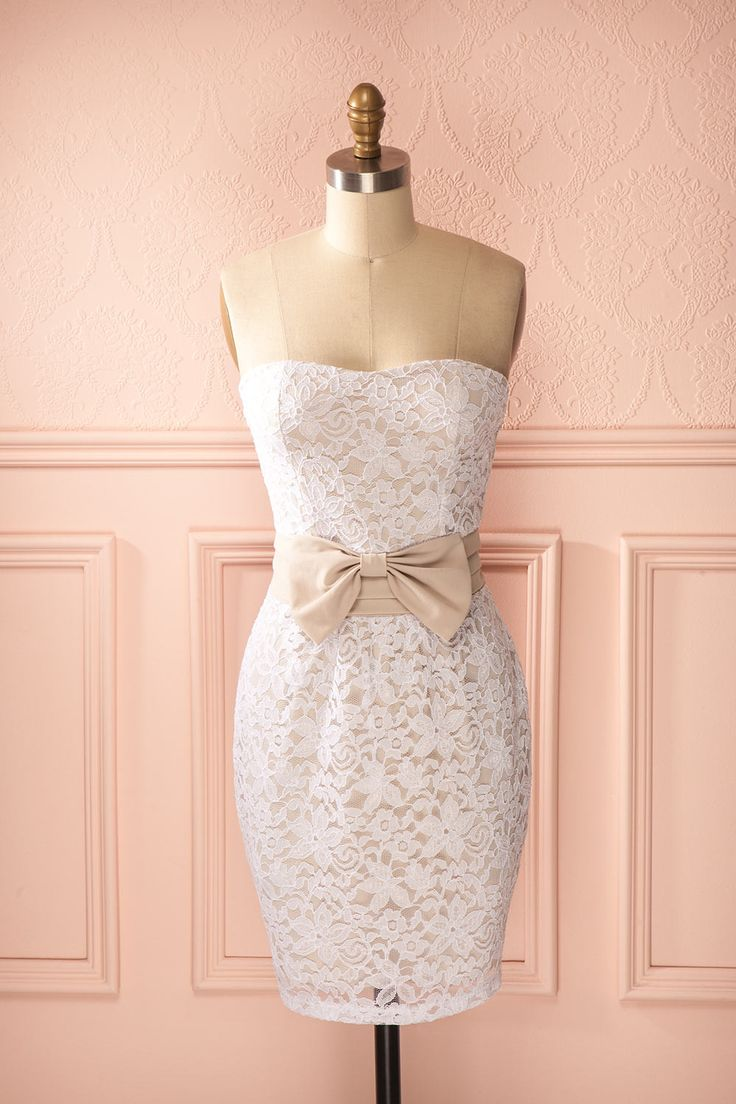 Vanylie Pure - White and beige lace bustier dress