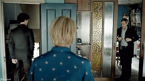   sherlock holmes   john watson   mary morstan   the sign of three.. All I see are devil horns behind Mary's head.