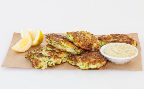 #Epicure Zucchini Fritters with Lemon Basil Aioli