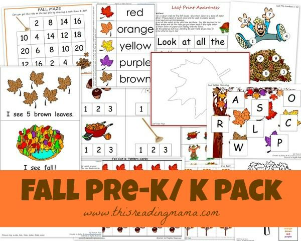FREE Fall PreK/K Pack: features an emergent reader and accompanying reading, writing, and math activities | This Reading Mama