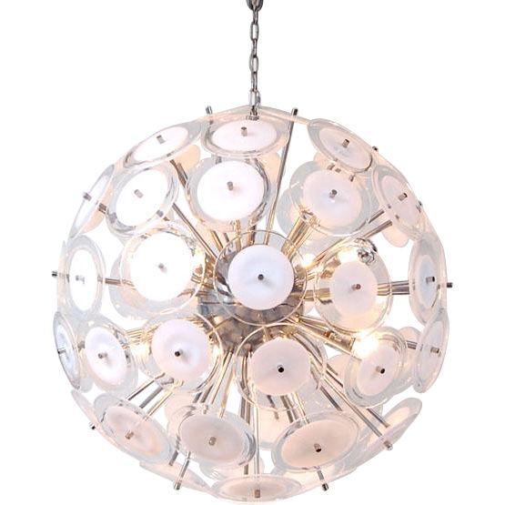 White Disc Sputnik Chandelier. Offered by Oljos on RubyLUX.
