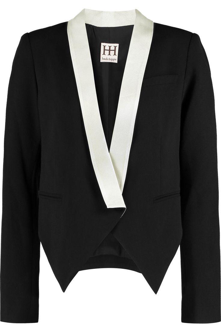 HAUTE HIPPIE Satin-trimmed crepe blazer. #hautehippie #cloth #blazer
