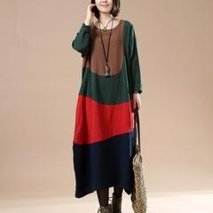 Cotton linen autumn long dress - One size fit for S/M/L(US 6-14) / Green