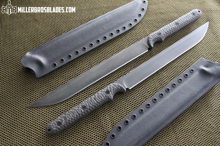 Miller Bros. Blades Custom Short swords with Carbon Fiber handles. This model is available in Z-Wear PM, CPM 3V and 5160 steels Miller Bros. Blades Custom Handmade Knives, Swords & Tomahawks.