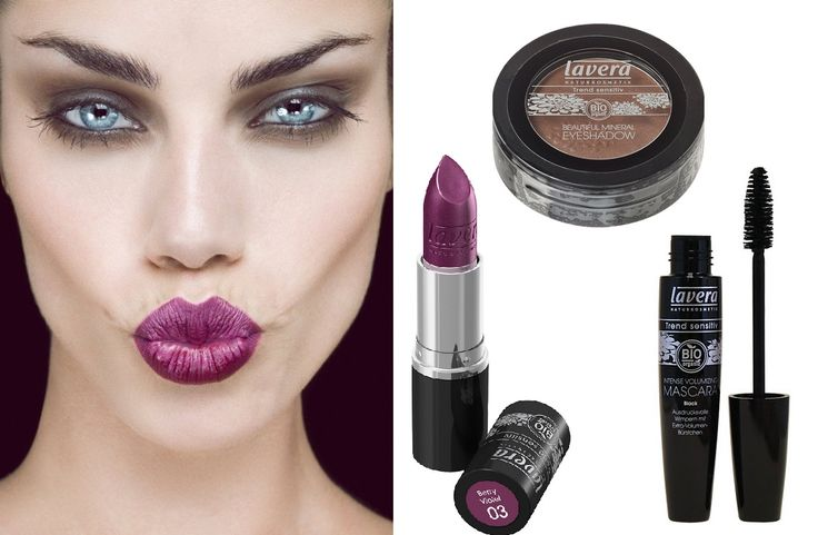 Smokey marrone e labbra prugna per un make up autunnale, tutto by Lavera: rossetto 03 Berry Violet, ombretto mat 08 chocolate brown e mascara Intense Volumizing. Solo su www.verobiomercato.it