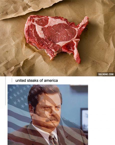Ron Swanson, steak, and America XD