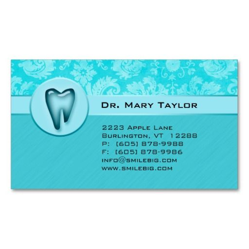 Dental Molar Business Card Damask Blue stripes