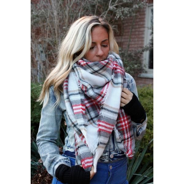 PEPPERMINT PLAID BLANKET SCARF