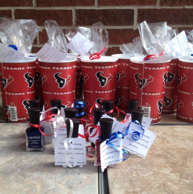 co ed baby shower favors but would make great super bowl party favors