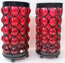 Vintage Mid Century Red colored Glass  Black Metal Cylinder Candle Holders /Pair
