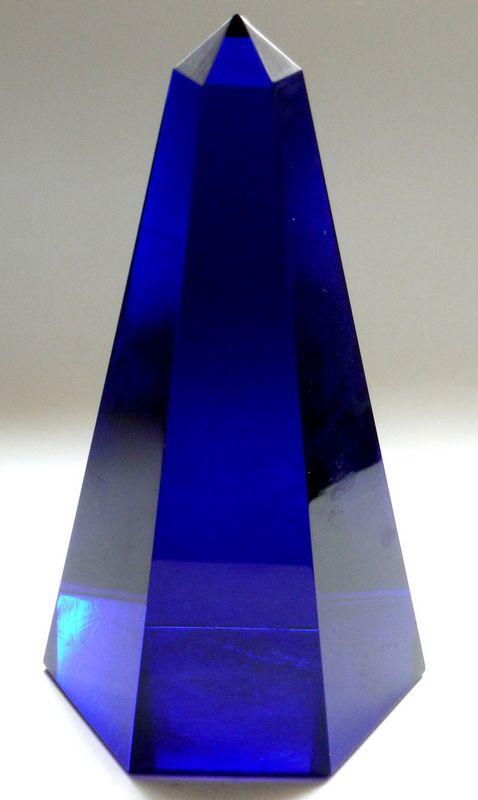 Murano signed Seguso deep cobalt obelisk paperweight