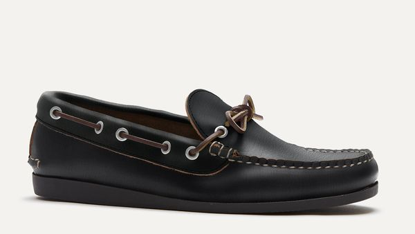 The sleek slip-on that is a staple for summer in Maine. Ours is built with true handsewn moccasin construction, lacquered eyelets that don't rust, and a functio