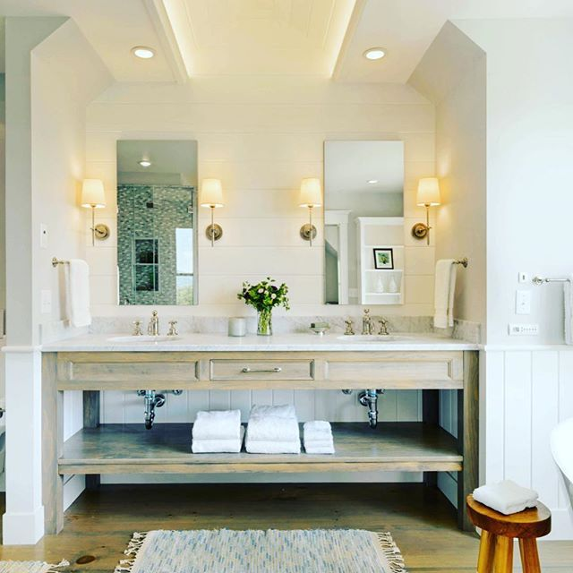 { W E L L D R E S S E D }  I do love a great bathroom  and this gorgeous design is no exception.  The combination of Oak and Marble is the perfect combination set against the White Shiplap Panelling.  @pattersoncustomhomes - beautiful work! Xxxx  #bathroom #bathroomdesign #bathroomvanity