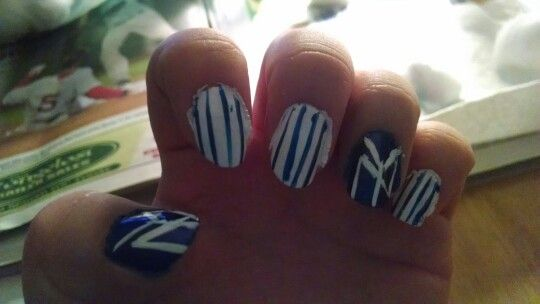 Baseball nail art. Love my Yankees! Ready for the game tomorrow. Did them myself not the greatest but still pretty damn good!