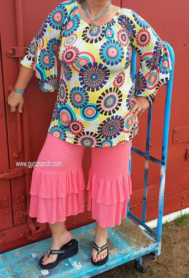 She's Flyin Solo CORAL Capri Palazzo Pants - Plus Size www.gypzranch.com