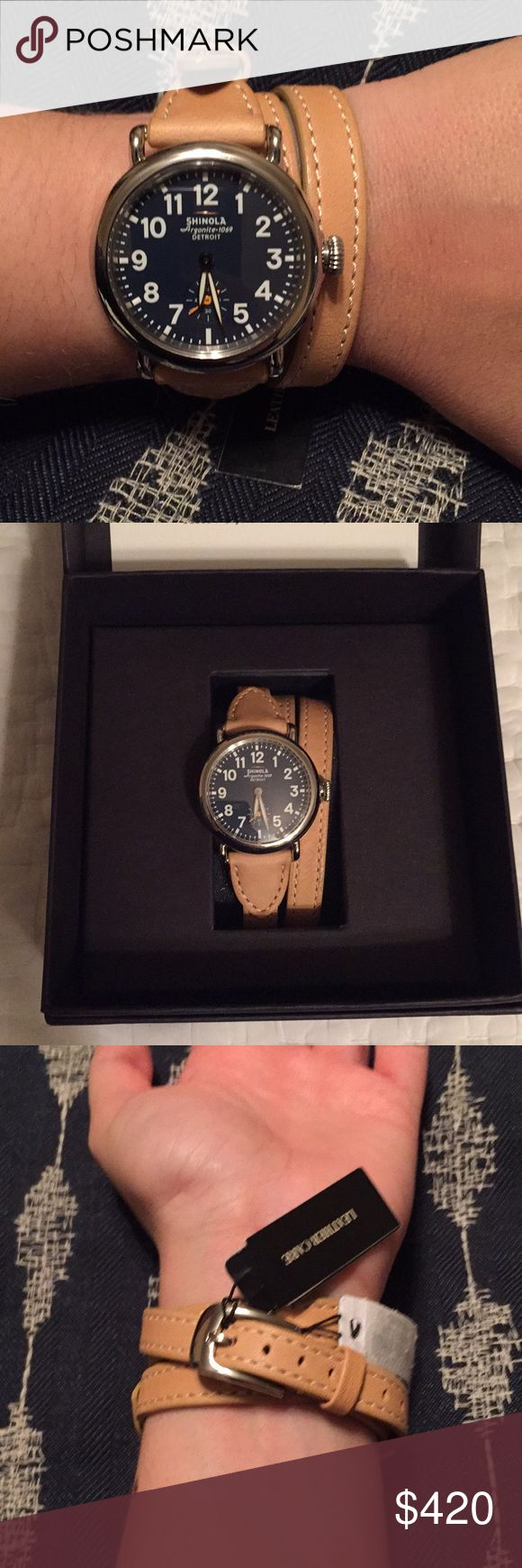 NWT Shinola Runwell 36M Triple Strap Watch ⌚️ NWT Shinola Runwell model triple strand band watch. Face is all stainless steel, Water resistant 5 ATM, sapphire crystal. Strap is made of natural handcrafted leather. USA movement from Swiss and imported parts. Original price was $575. This is new and still has the tags on, box, and instruction manual. Priced to accommodate new battery that is needed. Shinola Accessories Watches
