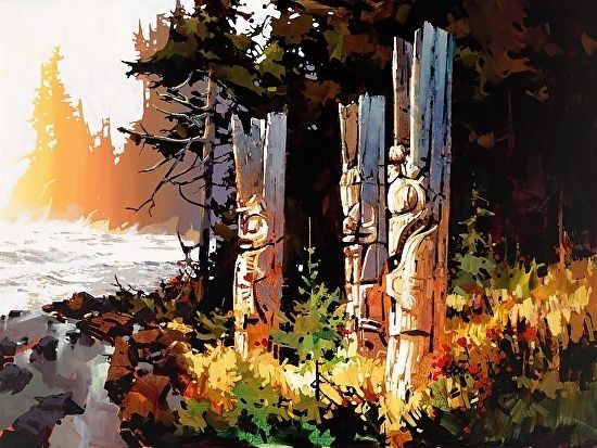 SUNDOWN NINSTINTS HAIDA GWAII NORTH COAST OF B.C. CANADA - Acrylic