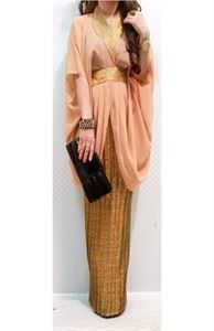 Picture of 2 Pieces Asymmetric Songket Printed Batwing Top with Pleated Skirt