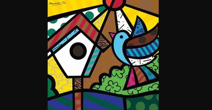 """""""O Senhor das Cores"""" (São Paulo): Romero Britto expõe 90 de seus trabalhos a partir desta sexta-feira no Shopping Pátio Higienópolis (SP). São originais em acrílica sobre tela, esculturas, gravuras, pôsteres. Até 16 de maio de 2010. Onde: Espaço Arte M. Mizrahi - av. Higienópolis, 618, Higienópolis, São Paulo-SP; de segunda a sábado, das 10h às 22h; aos domingos, das 14h às 20h. Entrada franca. Peças estão à venda a partir de R$ 400. Inf.: 0/xx/11/3823-2300. Imagem da gravura """"Bird"""" (2008…"""