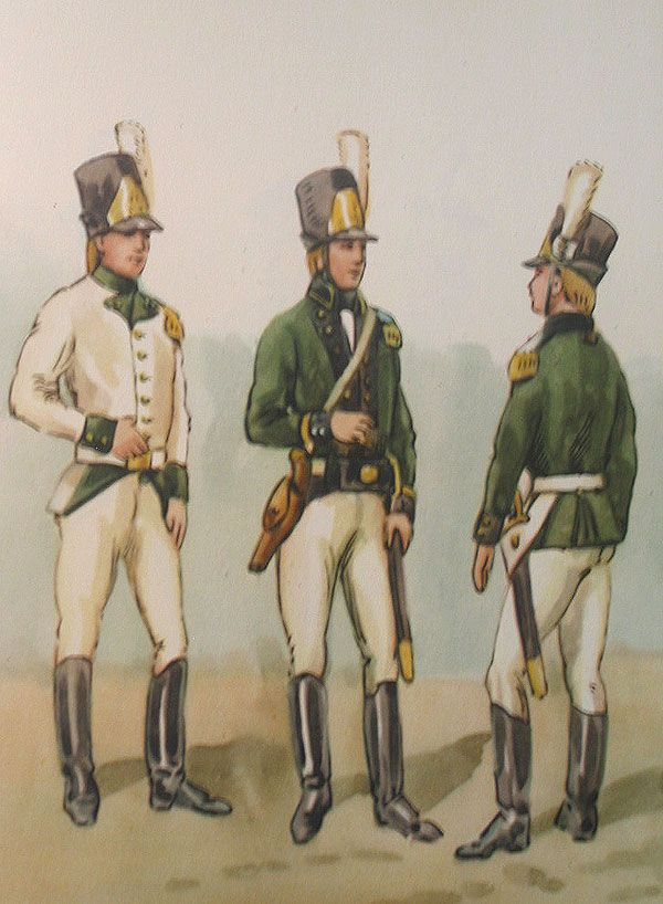The Polish Army in 1789-1794 years: The Engineers (the instruction of 05.II.1790). 1. Sapper in the jacket. 2. The Corporal of miners. 3. The sapper.